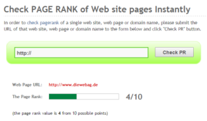 visible pagerank darstellung