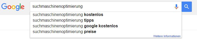 Google Suggest Suchmaschinenoptimierung