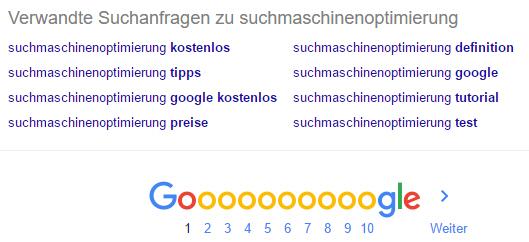 Google Vorschläge am unteren Bildschirmrand