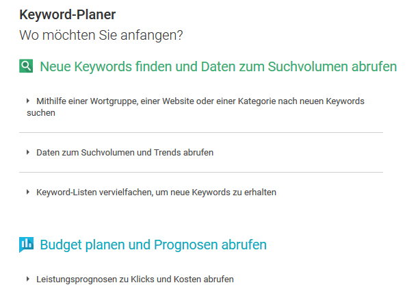 Google Keyword Planer Optionen