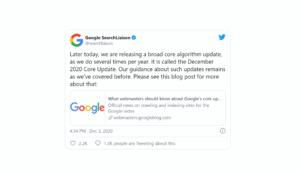 Einführung des Google Core-Updates für Dezember 2020