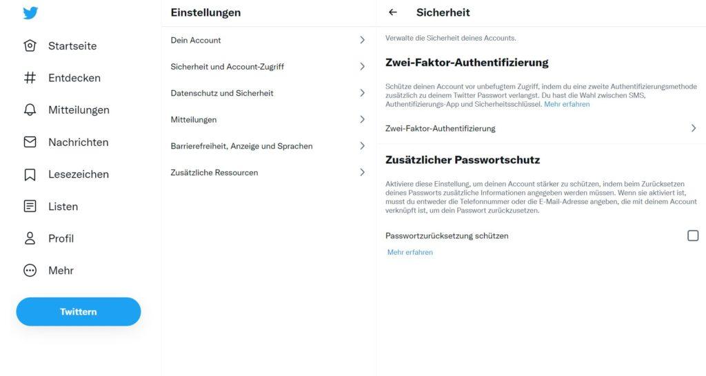 Twitter - 2-Faktor-Anmeldung