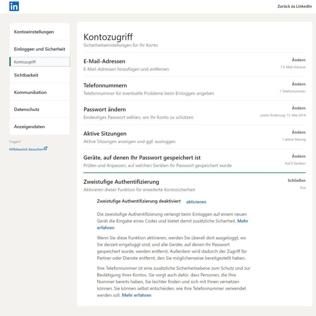 LinkedIn -  Bestätigung in zwei Schritten
