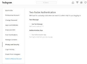 Zwei-Faktor-Authentifizierung bei Instagram
